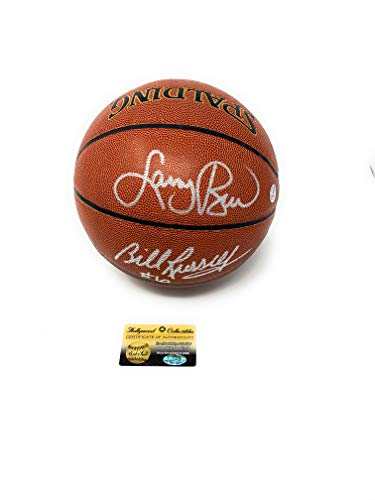 Bill Russell Larry Bird Boston Celtics Signed Autograph NBA Game Basketball Bird Holo & Holly Collectibles Certified from Mister Mancave