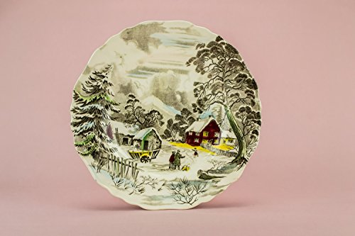 Retro Charming PLATE Landscape Ceramic Alfred Meakin Grey Vintage Serving 9.8'' Dinner Cheese English 1970s LS