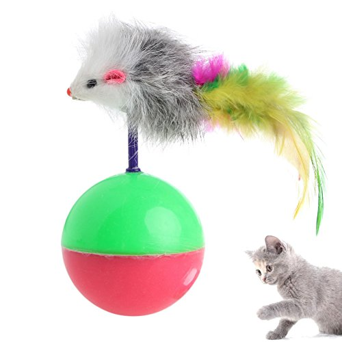 Delight eShop Plastic Pet Cat Supplies Funny Playing Toy False Mouse Ball Feather Activity 1pc