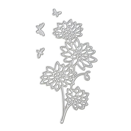 Butterfly Metal Flowers (Dies Cut Cutting Die for Cards Making Flower Butterfly Metal Embossing Stencils for DIY Craft Scrapbooking Photo Album Decorative Paper Gift Debossing Border (Dies 1 Flowers))