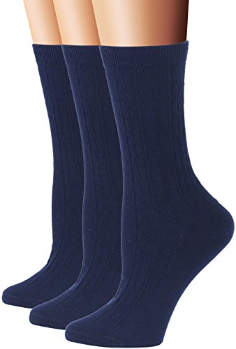 Navy Cotton Socks - Flora&Fred Women's 3 Pair Pack Cotton Crew Socks, Shoe: 5-9, Navy