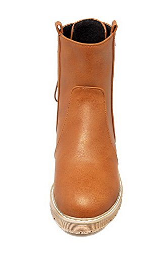 Basso Boots Pu Donna Low Ageemi up toe Tacco top Round Lace Shoes Marrone xFqwAXT
