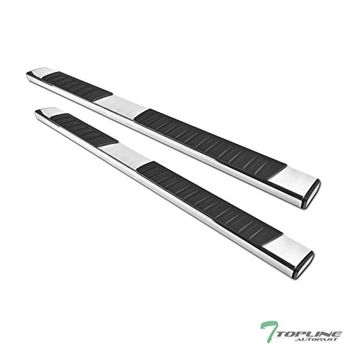 """Topline Autopart 6"""" Factory OE Rectangular Style Silver Aluminum Side Step Rail Running Boards FRC For 09-18 Dodge Ram 1500 Quad (Extended) Cab"""