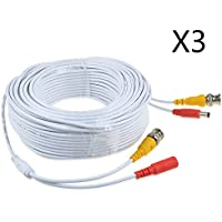 JerGO Professional Grade Siamese Combo Coaxial Cable Pre-made All-in-One BNC Video Power Cable for 1080P /720P, TVI, CVI, AHD and HD-SDI Camera and Analog CCTV Camera ( White 100Ft )(3 Pack)