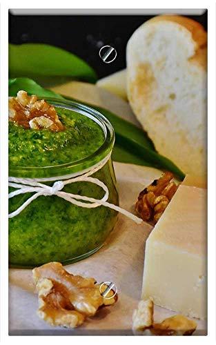 (Single-Gang Blank Wall Plate Cover - Pesto Bear Garlic BArlauch Pesto Herbs Homemade 1)