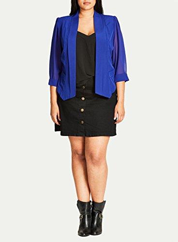 Coloured Drapey Plus Size Blazer Jacket in Cobalt - Size 18 / (City Blazer)