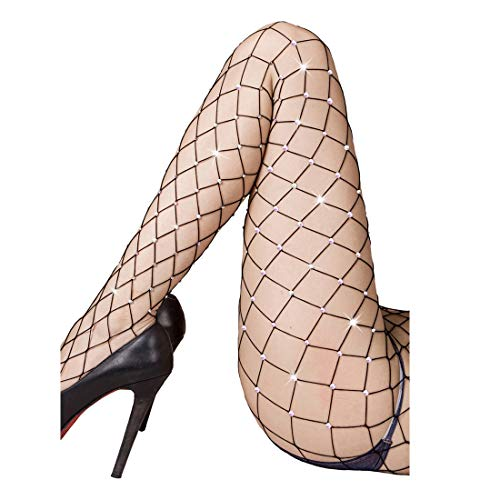 Rhinestone Fishnet Tights Pantyhose Women - Sparkle Sexy Crystal Net Stockings Stretchy Hollow Out Mesh Hosiery -