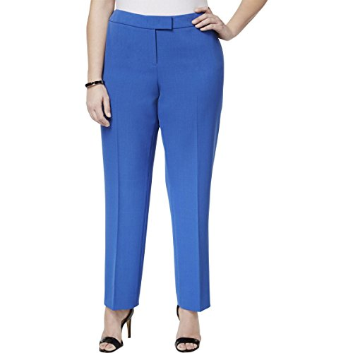 Anne Klein Womens Plus Ankle Formal Straight Leg Pants Blue ()