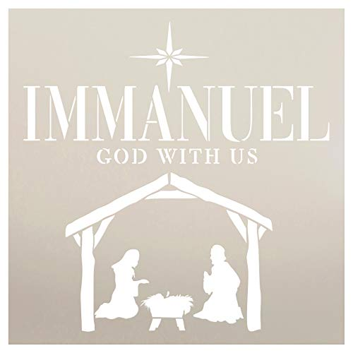 Immanuel God with Us Manger Stencil by StudioR12   Christmas & Holiday   for Painting Signs   Word Art Reusable   Family Room   Chalk Mixed Multi-Media   DIY Home - Choose Size (12