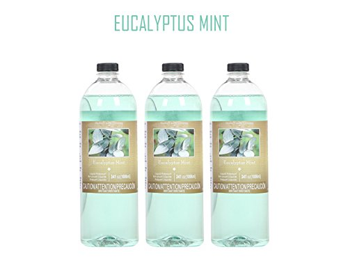 Hosley Premium Grade Eucalyptus Mint 34 oz Liquid Potpourri for Aromatherapy- Case of 3 Ideal GIFT for weddings, spa, Reiki, Meditation, Bathroom settings W9. by Hosley