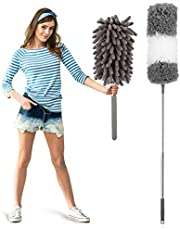 2 Dusters for Cleaning, Microfiber Duster Washable Extendable Hand Duster Cobweb Duster with Pole, Detachable Bendable Head, Car Duster for Ceiling, Ceiling Fan, Cobwebs, Furniture, Cars