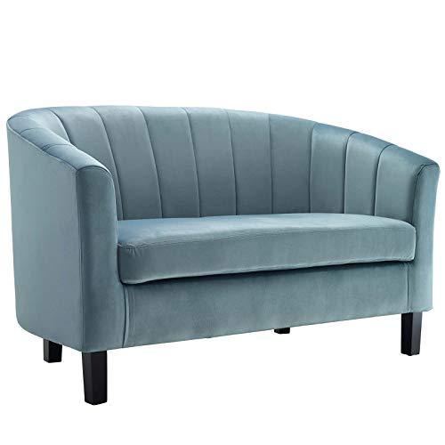 Polyester Upholstered Loveseat - Modway EEI-3137-LBU Prospect Channel Tufted Upholstered Velvet Loveseat Light Blue