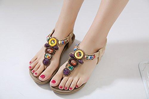 Tongs Ronde Bohème Ruiren Chaussures Plage pour Plates Sandales Dames pour Sandales Femmes Elastiques Peep Perle Post Eté Les Les Abricot Toe 6nqxZr4dXq