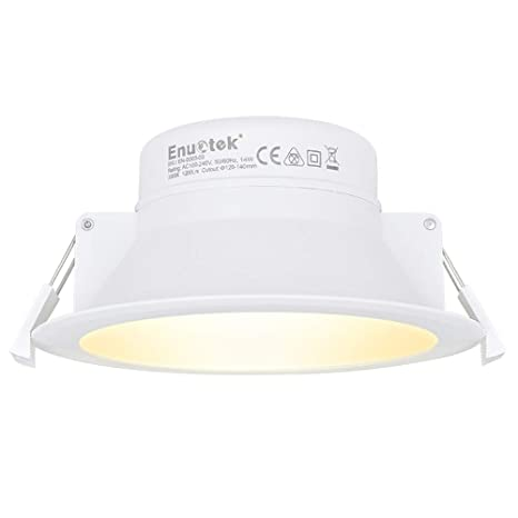 Lampara Plafon Foco de LED Empotrable en Techo Downlight Panel LED 14W 4 Pulgadas IP44 Luz Calida 3000K Diámetro de Agujero 120-140MM Lot de 1 de ...