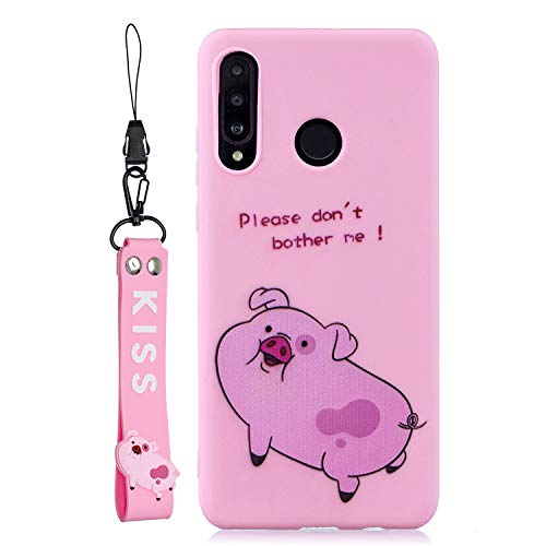 DAMONDY Huawei P30 Lite Case,3D Cute Cartoon Animals Pattern Design Soft Silicone Gel Slim Rubber Thin Protective Cover Phone with Lanyard Strap Case for Huawei P30 Lite-Pink Pig