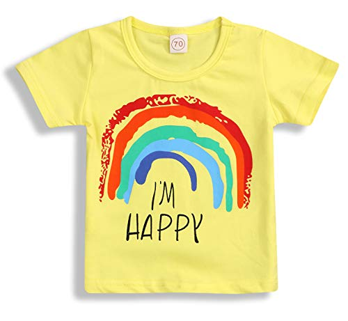 (Toddler Baby Girls Boys Long Sleeve Rainbow Print Cotton Soft Pullover T-Shirt Tops Clothes (18-24 Months, Yellow Short))