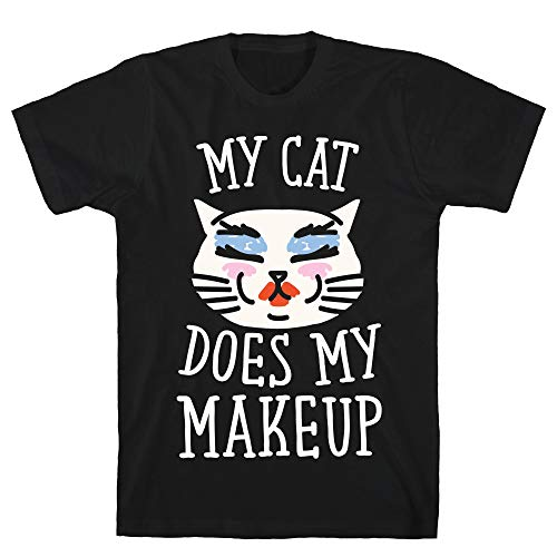 LookHUMAN My Cat Does My Makeup Small Black Men's Cotton Tee]()
