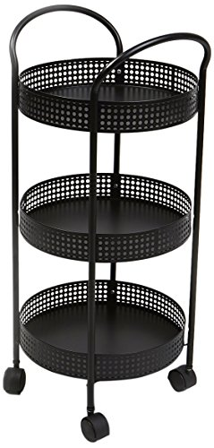 Three Tier Trolleys (Mind Reader 3 Tier Metal All Purpose Utility Cart with Wheels, Black)