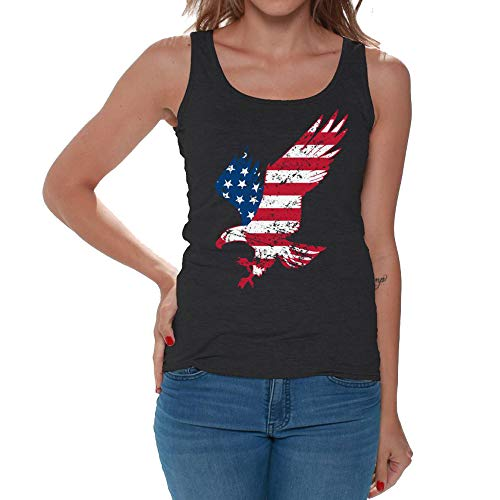 4th of July Women's Tank Tops American Eagle Summer Sleeveless Casual USA Flag Stars Stripes Vest Black