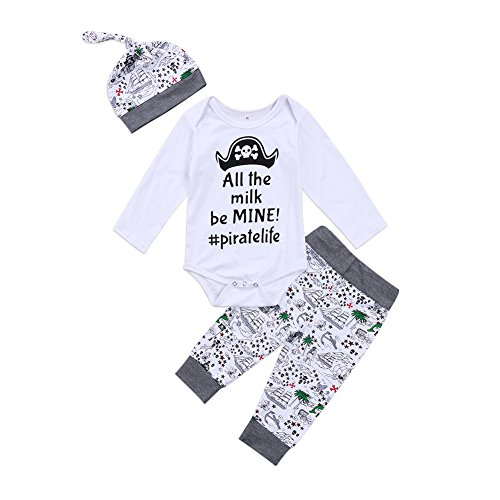 - 3Pcs/Set Funny Baby Girl Boy Long Sleeve Bodysuit Pants Hat Outfits Clothes (12-18 Months, White+Grey)