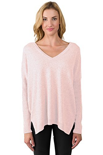 J CASHMERE Women's 100% Cashmere Slouchy Dolman Sleeve Double V Neck Sweater (S, PinkPearl)