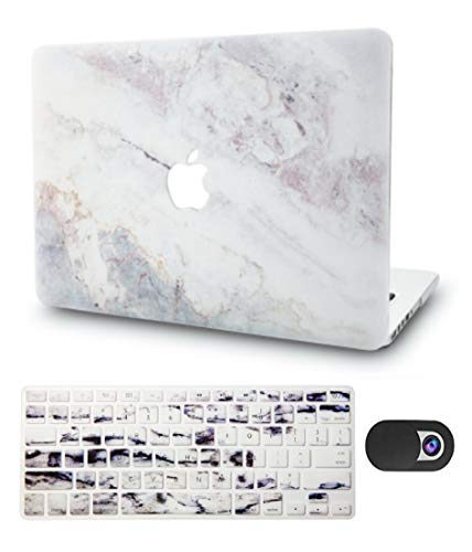 """KECC Laptop Case for MacBook Air 13"""" w/Keyboard Cover Plastic Hard Shell + Webcam Cover A1466/A1369 3 in 1 Bundle (White Marble 2)"""