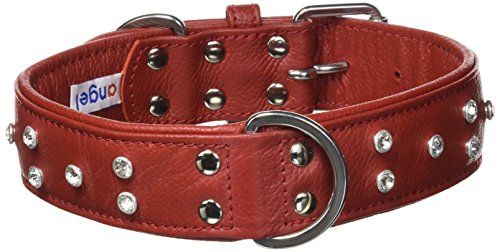 """Rhinestones Bling Leather Dog Collar, Wide, Padded, Double-Ply, Riveted Settings, 24""""x1.5"""", Red, Leather (Athens) Neck Size: 17.5""""-22"""""""