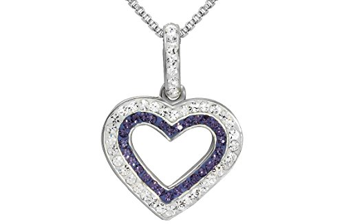 Sterling Silver Purple and White Heart Pendant Necklace 22''