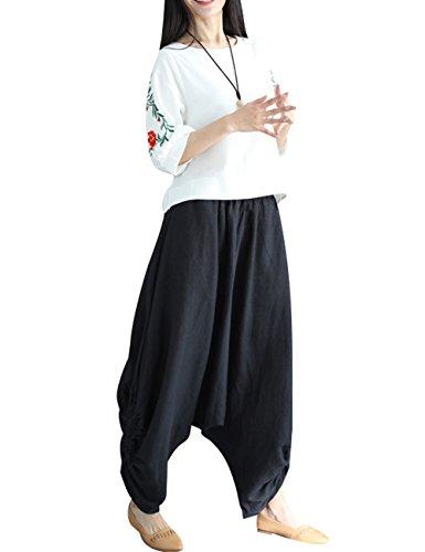3 Mujer Ancha Youlee Harem Pierna Verano Primavera Lino Pantalones Cintura Estilo Elástica x4CCqPaSw