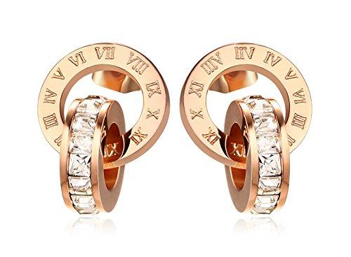 Stainless Steel Delicate Rose Gold Roman Numeral Interlocking Circle Rhinestone Crystal Stud Earrings for Women -