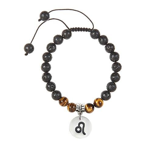 (Meibai Handmade 8mm Lava Rock Tiger Eye Natural Stone Beads Bracelet with Constellation Zodiac Sign Charm Adjustable Size (Leo))