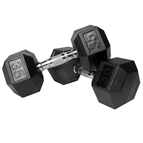 XMark Premium Quality Rubber Coated Hex Dumbbells with Chrome Contoured Handles - 35 lb pair