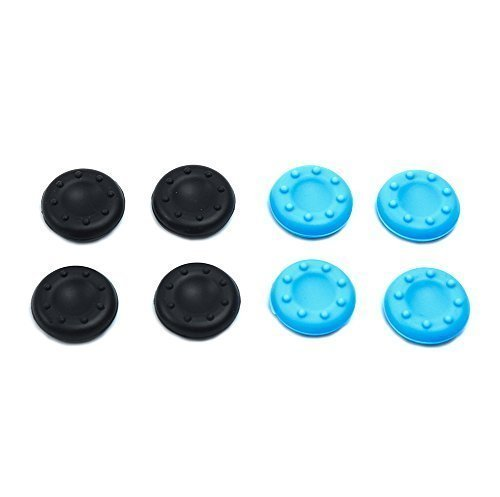 Price comparison product image Mondpalast Anti-slip Joystick Thumbstick grip Caps for Playstation 3 4 PS3 PS4 Xbox 360 Xbox one controller (Black X4, Blue X4)