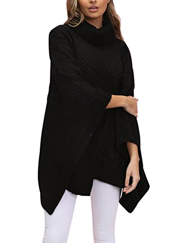 Ribbed Turtleneck Poncho - Simplee Womens Oversized Turtleneck Pullover Sweater Winter Knitted Poncho Capes,Black,One Size