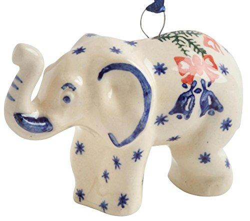 (Polish Pottery Bell & Ribbon White Elephant Handmade Ceramic Christmas Ornament Ceramic, Elephant)