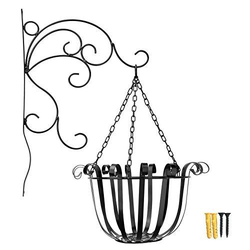 Lewondr Iron Hanging Planter Basket + Bracket Set, Metal Wire Flower Pot Basket Wrought Iron Plant Stands for Plants Flowers Garden Patio Balcony Décor Outdoor Use - Black