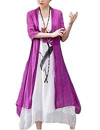 SELX Women Selx - Vestido de 2 Piezas para Mujer con Estampado Frontal Abierto de Algodón y Lino