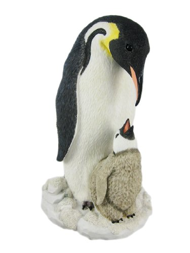 Veronese Resin Statues Mother And Child Penguin Statue Baby Chick 5.5 X 9.25 X 5.5 Inches White