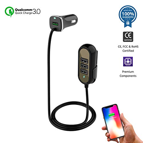 Price comparison product image Car Charger USB Cigarette Lighter Adapter | Multi-Port QC3.0 Outlet Hub for Apple iPhone X/8/7/Plus, iPad Pro/Air/mini, Samsung Galaxy S9/8/7/Note, LG, Motorola and More | Road Trip Essentials (Black)