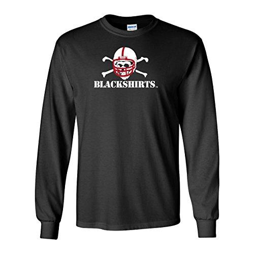(Nebraska Cornhuskers Football Blackshirts Logo Long Sleeve Tee Shirt - Black - 2X)