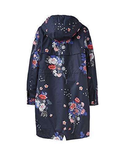 Raine Womens Waterproof Floral Coat Hooded Navy Joules Long Printed fwvqw6