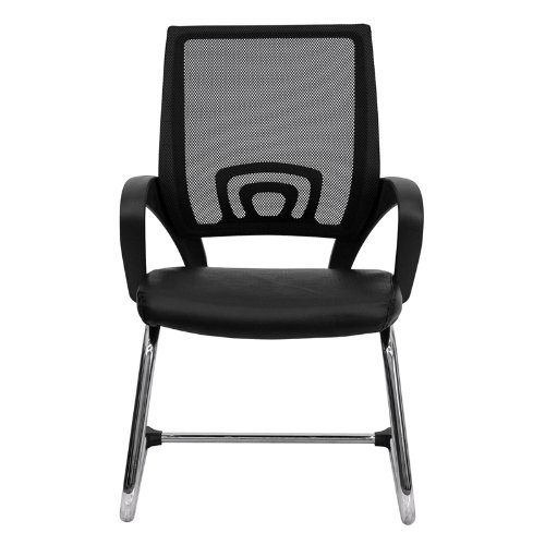 Flash Furniture Black Mesh Side Reception Chair with Leather Seat and Sled Base by Flash Furniture (Image #3)
