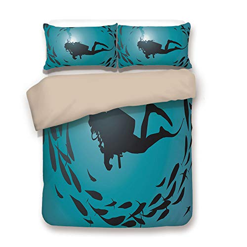 - iPrint Duvet Cover Set,Back of Khaki,Under The Sea,Diver Surrounded with Jamb of Fishes Scuba Snorkel Aqualung Water Sports,Dark Blue Aqua,Decorative 3 Pcs Bedding Set by 2 Pillow Shams,King