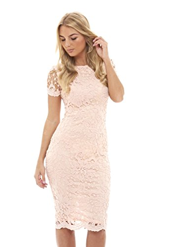 Pink Crochet Rose - AX Paris Women's Crochet Lace Midi Dress(Pink, Size:14)