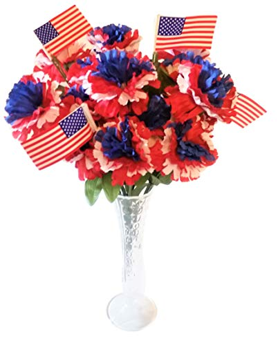 - Patriotic Carnation Bush with Flags Bouquet in Vase - Red, White, & Blue - Artificial Fake Flowers - 24 Tip Heads - 4th of July, Memorial Day, Veterans Day, Independence Day, & Flag Day Decor