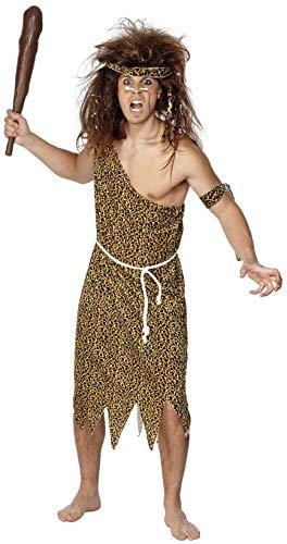 Smiffy's Men's Caveman Costume, Tunic, Headband, Armband and Belt, Caveman, Serious Fun, Size L, 22451