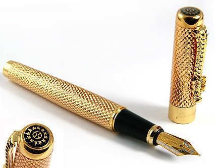Jinhao Brand New Golden Dragon Red Crystal Eyes Fountain Pen with Push in Style Ink ()