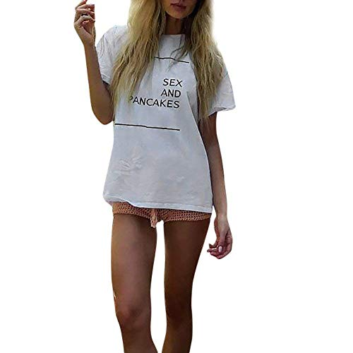 Women Fashion O-Neck Sex and Pancakes Letter Printed Ladies Short Sleeve Blouse Tops for Teen Girls Clothes T Shirt White Medium by Swomen
