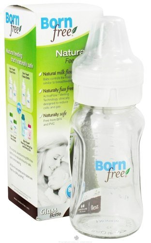 BornFree Wide Neck Glass Bottle BPA Free Medium Flow - 9 Ounce, 4 Pack by Born Free by Born Free