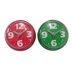 Bilik Shower Wall Clocks (Set of 2) - Water Resistant Colorful Fun Childrens Bathroom Accesssories - Red & Green